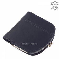 Fedelén szolid díszvarrással készült kék színben ez a kis méretű, divatos női bőr pénztárca minőségi bőr alapanyagból.