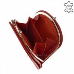 Fedelén szolid díszvarrással készült piros színben ez a kis méretű, divatos női bőr pénztárca minőségi bőr alapanyagból.