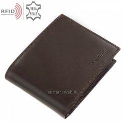 Saját márkás SYNCHRONY valódi bőr férfi pénztárca barna színben RFID védelemmel, klasszikus fényes felületű valódi bőrből praktikus belsővel
