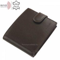RFID bőr férfi pénztárca, magas gyártási minőségben készítve barna színben, valódi bőrből, melynek fedelén a SYNCHRONY logó látható.