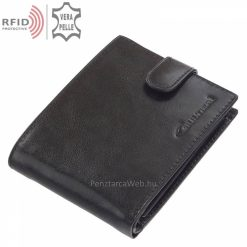 Külső átkapcsoló pánttal gyártott, minőségi, fényes valódi bőrből készített, fekete férfi bőr pénztárca, biztonságos RFID védett modell.