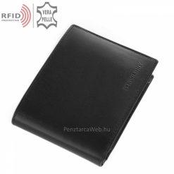 Elegáns, fényes felületű valódi bőr, minőségi férfi pénztárca RFID védelemmel fekete színben klasszikus stílusban. Díszdobozban küldjük.