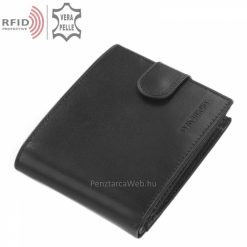 Hagyományos külső átkapcsoló pánttal, fényes fekete felületű valódi bőr férfi pénztárca, biztonságos RFID védelemmel, ajándék díszdobozban.
