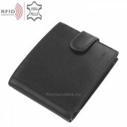 RFID bőr férfi pénztárca, magas gyártási minőségben készítve fekete színben, valódi bőrből, melynek fedelén a SYNCHRONY logó látható.