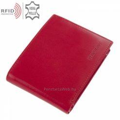 Saját márkás SYNCHRONY minőségi bőr pénztárca piros színben RFID védelemmel, fényes felületű igazi bőrből praktikus belsővel gyártva.