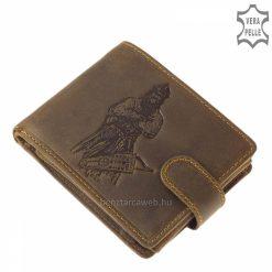 Rusztikus külsejű valódi marhabőrből készített férfi bőr pénztárca barna színű, mintával díszített külsővel és praktikus belsővel.