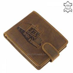 Jól kihasználható belsővel rendelkező barna színű, kiváló minőségű, férfi GreenDeed bőr pénztárca modell egyedi kamionos mintával.