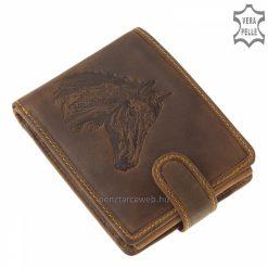 Valódi bőrből egyedi mintás férfi bőr pénztárca barna színben a lovas sportok kedvelőinek, a termék sportos kialakítású pánttal zárható.
