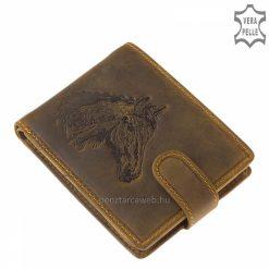 Valódi marhabőrből készült, minőségi bőr férfi pénztárca barna színben, részletgazdag mintával, a termék átkapcsoló pánttal zárható.