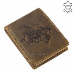 Szépen kidolgozott egyedi mintával készült minőségi barna színű férfi bőr pénztárca, melynek fedelén egy gyalogos íjász látható.