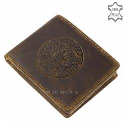 Rusztikus minőségi marhabőrből készített GreenDeed márkájú férfi bőr pénztárca magyaros mintával készítve barna színben.