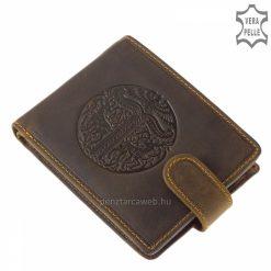 Egyedi dizájnnal készített rusztikus kivitelű, szarvas mintás barna színű valódi bőr férfi pénztárca a minőségi GreenDeed márkacsaládtól.