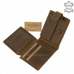Magas minőségi gyártásban készített barna színű GreenDeed férfi bőr pénztárca magyar mintás fedéllel tartós, valódi bőrből.