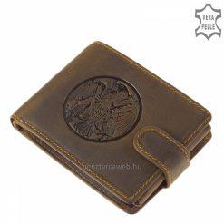 Összetettebb, tárolásban verhetetlen barna színű, minőségi GreenDeed márkás férfi bőr pénztárca modell turul mintával, mely nagyon népszerű.