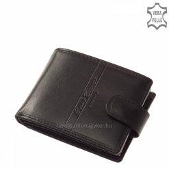 Praktikus belsővel rendelkező, igényes fekete színű férfi bőr pénztárca prémium kategóriájú, valódi selyemfényű bőrből, elegáns logóval.