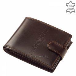 Valódi bőr, barna színű férfi pénztárca,melynek fedelét elegáns design díszíti, belső elrendezése okán igazán praktikus modellünk.