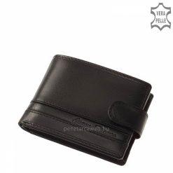 Dekoratív fekete színű férfi bőr pénztárca prémium kategóriájú, igazi selyemfényű bőrből, fedelén egyedi CORVO BIANCO logóval. Díszdobozban!