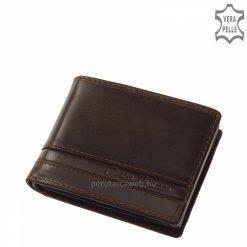 Elegáns, prémium kategóriájú, minőségi valódi bőr barna színű férfi pénztárca természetes karakterű, selyemfényű bőrből. Díszdobozos termék!