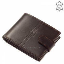 Elegáns barna színben készült férfi bőr pénztárca egyedi dizájnnal, amely praktikus átkapcsoló füllel zárható, RFID védelemmel.