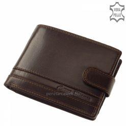 Elegáns sötétbarna színű, divatos férfi bőr pénztárca prémium kategóriájú, minőségi selyemfényű bőrből, fedelén CORVO BIANCO logóval.