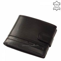 Természetes kikészítésű, elegáns, valódi bőrből készült divatos fekete színű férfi bőr pénztárca, minőségi külső átkapcsoló pánttal.