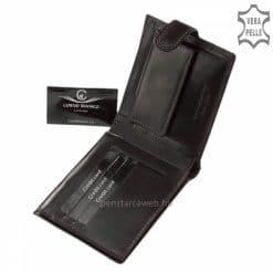 A fekete színű minőségi bőr férfi pénztárca divatos fedelén lévő elegáns bőrcsíkon a CORVO BIANCOmárkanév látható. Díszdobozos modell!