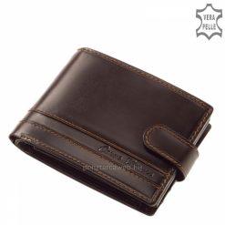 A minőségi igazi bőr férfi design pénztárca barna színben, fedelét elegáns átkapcsoló pánt fogja össze és egy vízszintes csíkbetét díszíti.