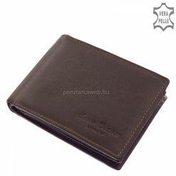 Valódi bőrből gyártott kényelmes férfi bőr pénztárca, mely a Corvo Bianco Luxury márkacsalád egyik praktikus barna színű modellje.