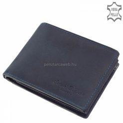 Minőségi, kék színű, klasszikus stílusú, igazi bőr férfi pénztárca, mely a Corvo Bianco Luxury férfiaknak készített márkás modellje.