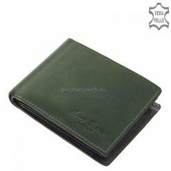 Kiváló minőségű bőrből gyártott klasszikus zöld színű praktikus férfi bőr pénztárca, mely a Corvo Bianco Luxury termékcsalád márkás modellje.
