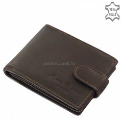 Kisméretű, igazi természetes bőr felhasználásával készült márkás, barna színű férfi bőr pénztárca, szinte minden zsebben kényelmesen elfér.