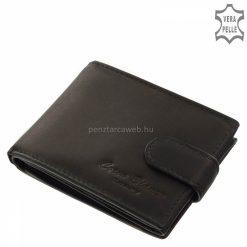 Kisméretű, igazi természetes bőr felhasználásával készült márkás, klasszikus fekete színű férfi bőr pénztárca, zsebben is kényelmesen elfér.
