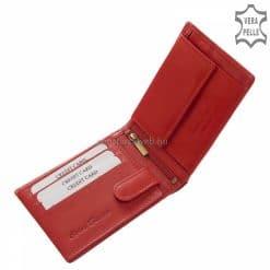 Valódi bőrből gyártott, piros színű, kártyatartós női bőr pénztárca, mely a Corvo Bianco Luxury márkacsalád egyik elegáns modellje.