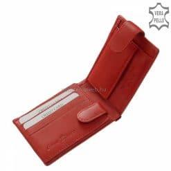 Kisméretű természetes bőr női pénztárca, mely klasszikus belső kialakítással és piros színű valódi bőr külsővel készült.