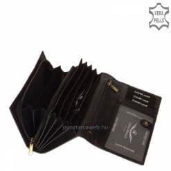 Patentos fedelű, elegáns CORVO BIANCO LUXURY logós nagy méretű női bőr pénztárca fekete színben, dekoratív, bársonyos fényű bőrből.