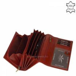 Patentos fedelű, elegáns CORVO BIANCO LUXURY logós nagy méretű női bőr pénztárca piros színben, dekoratív, bársonyos fényű bőrből.