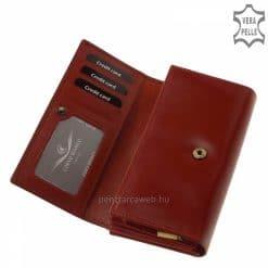 Első osztályú bőrből gyártott piros színű nagy méretű dekoratív női bőr pénztárca, elegáns CORVO BIANCO LUXURY márkalogóval. Díszdobozzal!
