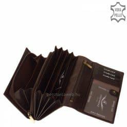 Patentos fedelű, elegáns CORVO BIANCO LUXURY logós nagy méretű női bőr pénztárca sötétbarna színben, dekoratív, bársonyos fényű bőrből.