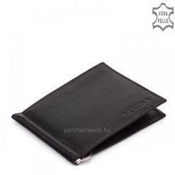 Minőségi, tartós valódi nappa bőrből készült fekete bőr dollártárca, a slim pénztárca modellek táborát gyarapítja La Scala márkajelzéssel.