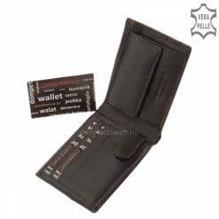 Kis méretű, igényesen kidolgozott, minőségi design férfi bőr pénztárca, elegáns fekete színben, valódi bőrből gyártva, díszdobozban.