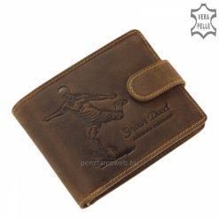 Focista mintával díszített sportos jellegű, minőségi GreenDeed márkás bőr férfi pénztárca, patinás barna színben. Hozzá illő díszdobozban.