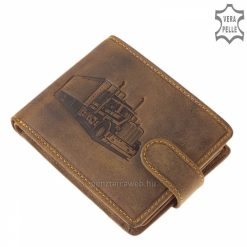 Magas minőségű GreenDeed férfi bőr pénztárca természetes karakterű barna színű fedelén mintával, valódi marhabőrből gyártva.