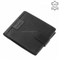 Átkapcsolóval zárható, sportosan elegáns minőségi férfi bőr pénztárca fekete színben, melynek fedelén Vester bőrrátét figyelhető meg.