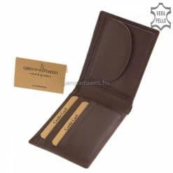 Valódi bőrből gyártott, hagyományos és praktikus kialakítású minőségi férfi bőr pénztárca barna színben, díszdobozban kerül kiszállításra.