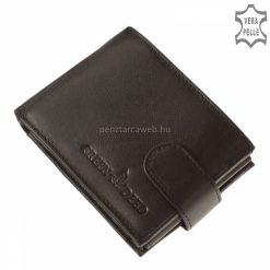 Puha kellemes tapintású valódi nappa bőrből készült, kisméretű, fekete színű, klasszikus férfi bőr pénztárca termék, GreenDeed logóval.