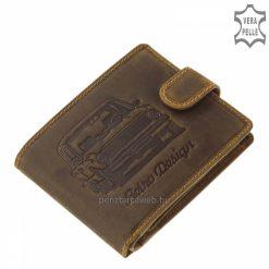 Minőségi bőr alapanyagból gyártott, barna színű autós férfi pénztárca, melynek fedelét látványos zsiguli mintával díszítettük.
