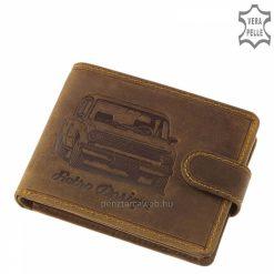 Retró stílusú GreenDeed férfi pénztárca barna színű, autó mintával díszített fedéllel, természetes karakterű, minőségi marha bőrből gyártva.
