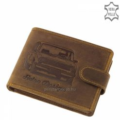 Vintage jellegű barna színű, autós mintával díszített bőr pénztárca férfi vásárlóink számára számára, mely minőségi marhabőrből készült.