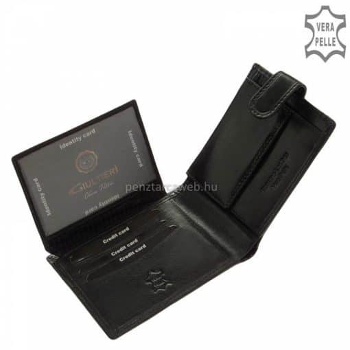 Prémium kategóriájú, valódi marhabőrből gyártott, elegáns fekete színű férfi bőr pénztárca, mely díszdobozos kivitelben kerül forgalomba.