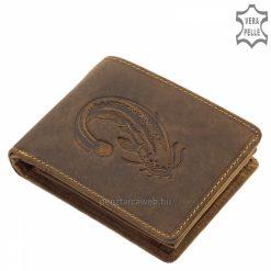 Harcsa mintával díszített GREENDEED horgász férfi bőr pénztárca modellünk természetes barna színű, vintage hatású minőségi marhabőrből.